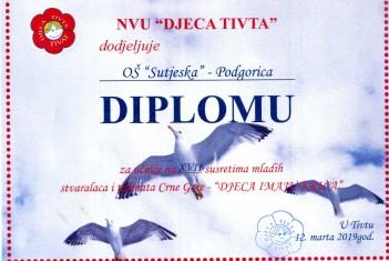 Diploma za učešće na XVII susretima mladih stvaralaca i talenata CG